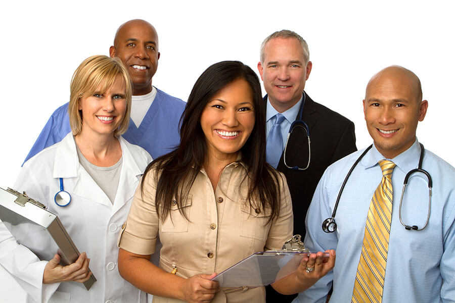 diverse group of smiling health professionals