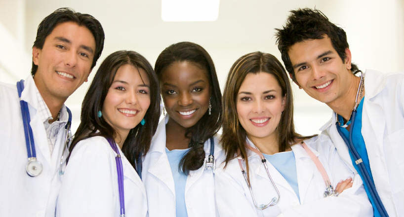 Group of diverse health care students representing tobacco program