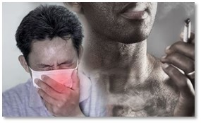 man coughing from smoking and covid 19