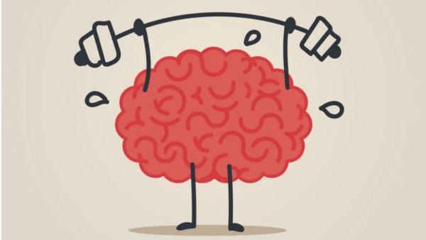 cartoon of brain lifting weights